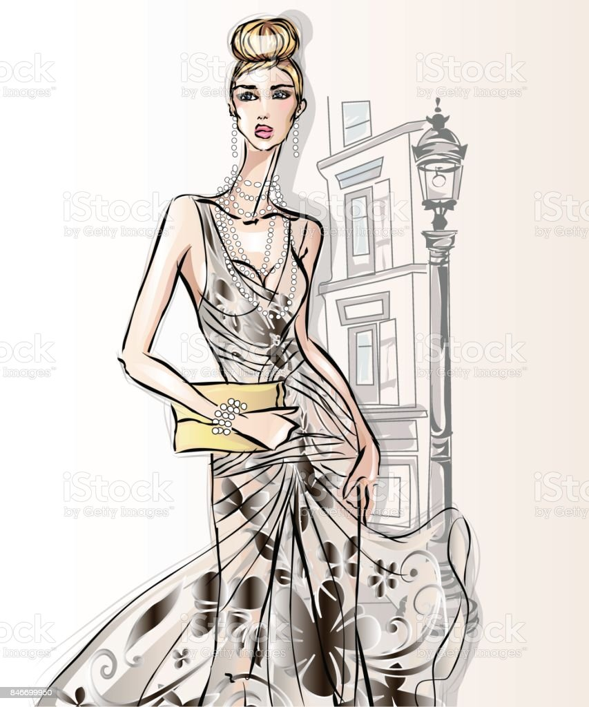 Young beautiful sexy woman in fashion sketch style. Street style girl with clutch at city background vector vector art illustration