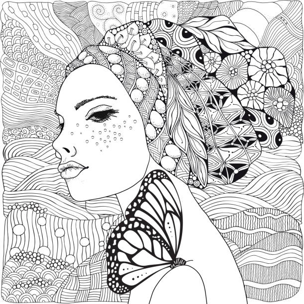 ilustrações de stock, clip art, desenhos animados e ícones de young beautiful woman and butterfly. beach, facing out to sea. black and white doodle coloring book page for adult and children. - adulto