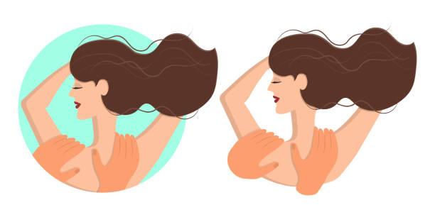 illustrazioni stock, clip art, cartoni animati e icone di tendenza di giovane bella donna alla sessione di massaggio del corpo. mani di massaggiatore facendo classico massaggio alla schiena - china drug