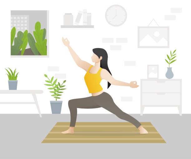 young beautiful woman character doing yoga - domowy stock illustrations