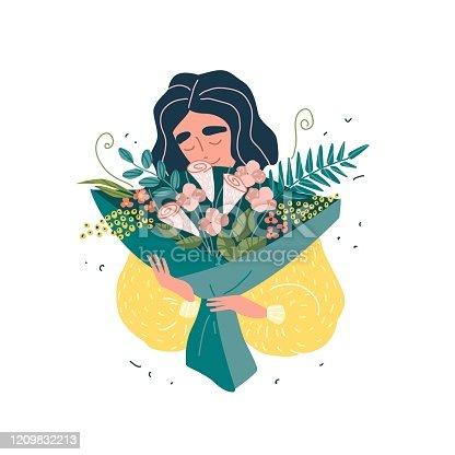 Young beautiful woman holding a bouquet of flowers. Card with vector illustration.