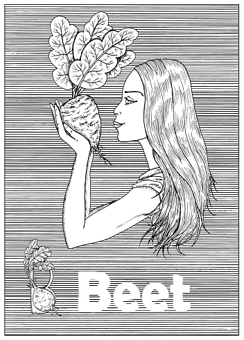 Young beautiful woman holding beet vegetable over striped background.