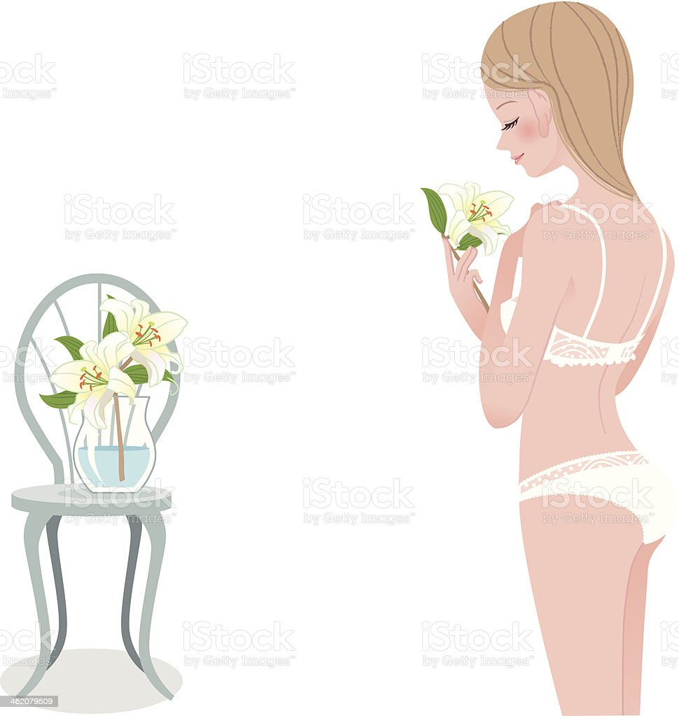 Young beautiful woman in underwear vector art illustration