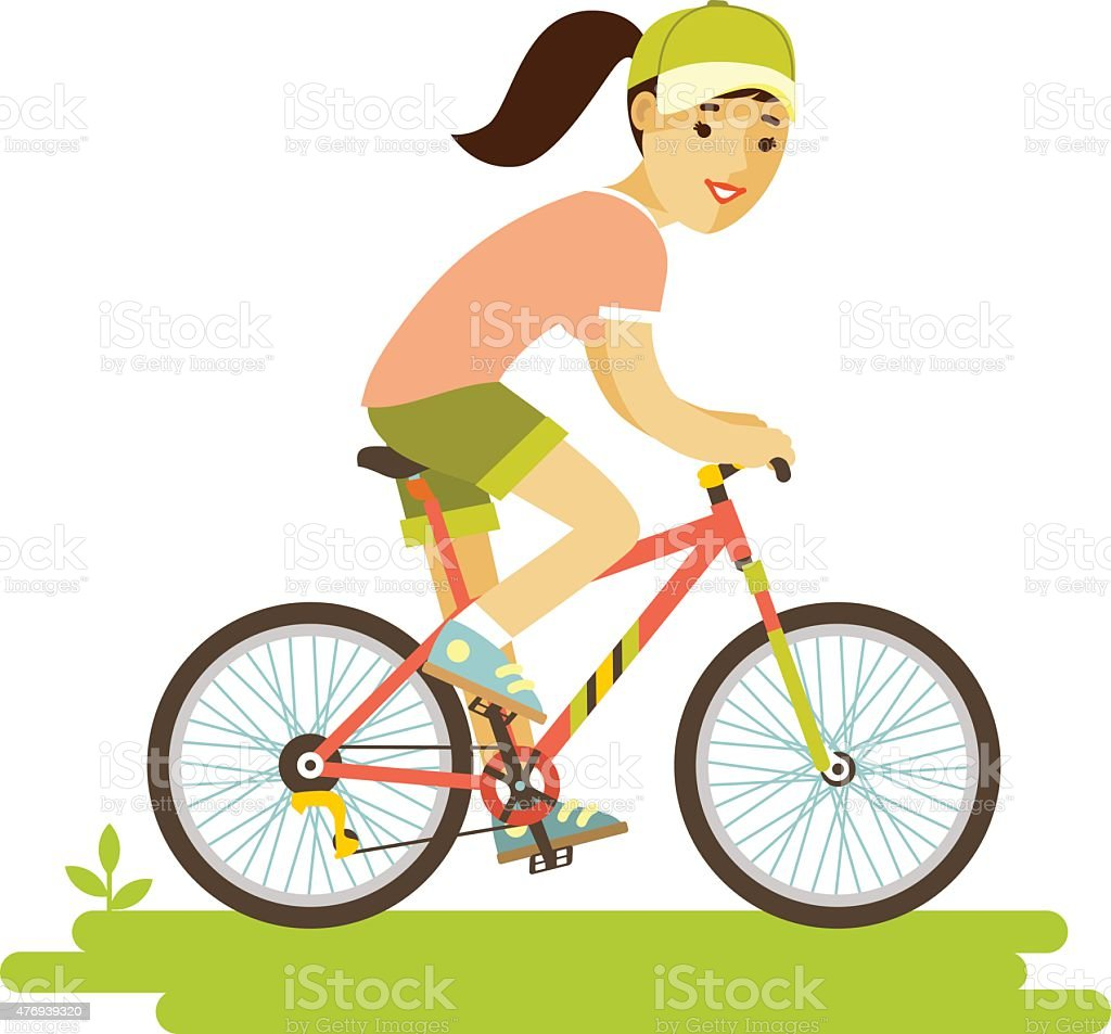 Young bicycle rider woman with bike in flat style vector art illustration