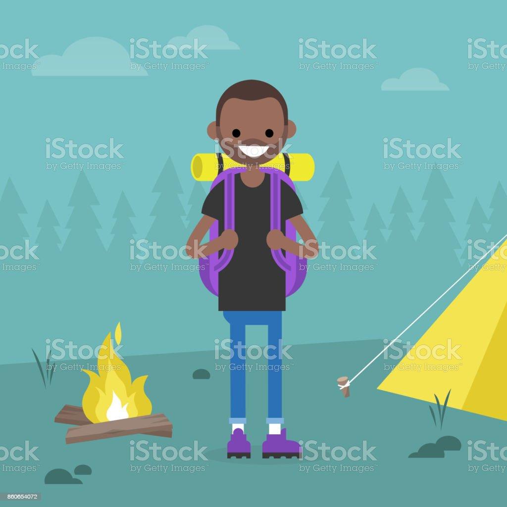 若い黒フォレスト内旅行バックパッカーですキャンプ旅行編集可能な