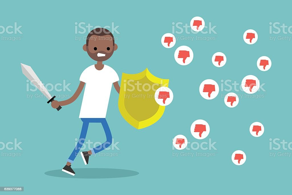 Young black boy fighting against negative reactions in social media vector art illustration