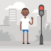 Young black character attracting attention on the pedestrian crossing / flat editable vector illustration, clip art