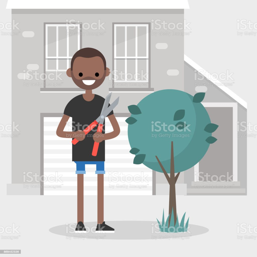 Young black character cutting a bush with a pruner. Gardening. Seasonal work in a garden / flat editable vector illustration vector art illustration