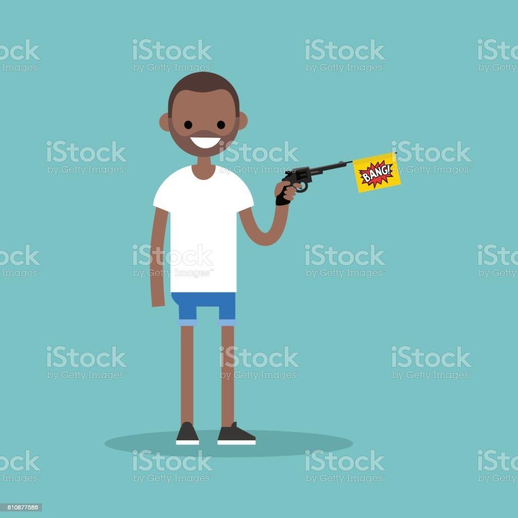 Joven personaje negro sosteniendo una pistola de juguete con una bandera de bang / plano editable vector Ilustración, imágenes prediseñadas - ilustración de arte vectorial
