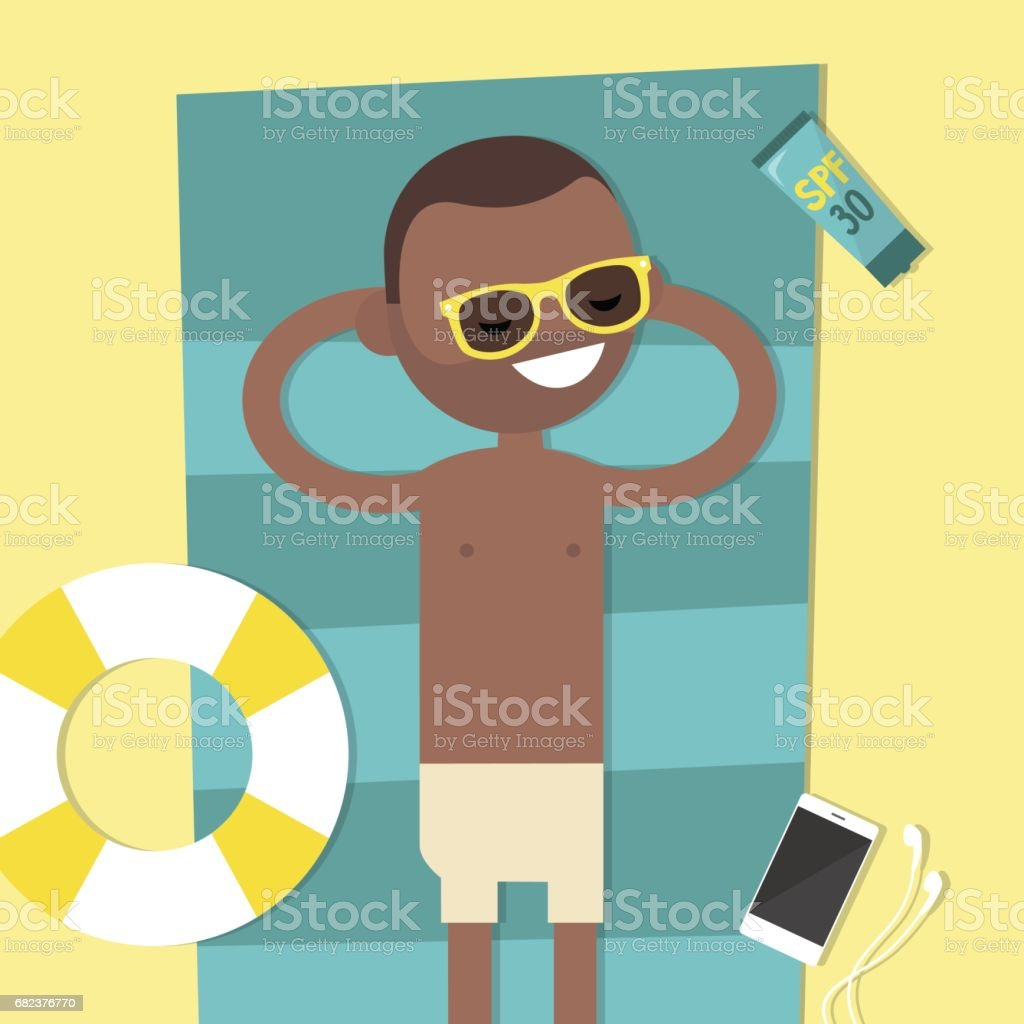 Young black character lying on the beach. Top view / flat editable vector illustration, clip art royalty-free young black character lying on the beach top view flat editable vector illustration clip art stock vector art & more images of adult