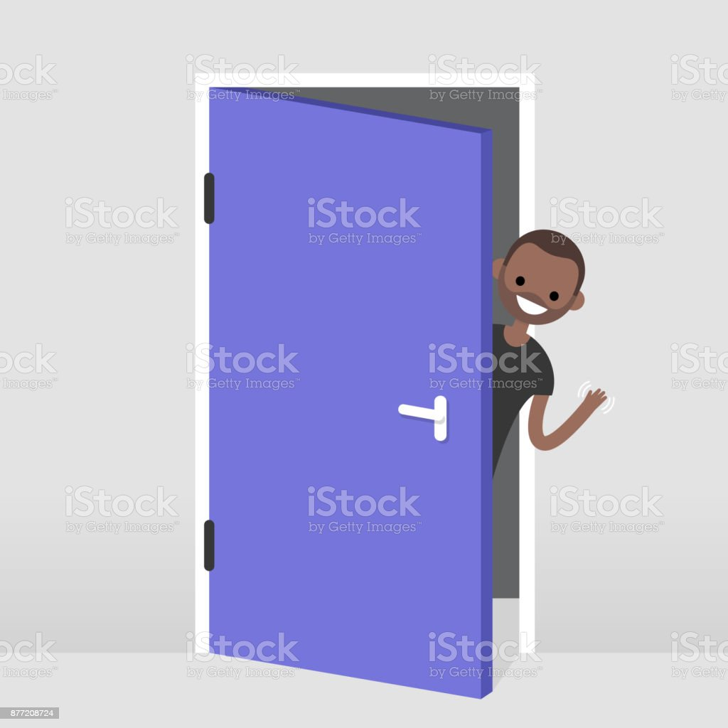 Young black character peeking out from behind the door. Hello or Goodbye hand waving. Welcome home. Flat editable vector illustration, clip art vector art illustration