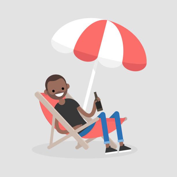junge schwarze charakter in eine liege unter dem sonnenschirm sitzen und bier trinken. urlaub. sommer. am wochenende. im freien. flach bearbeitbares vektor-illustration, clipart - gartensofa stock-grafiken, -clipart, -cartoons und -symbole