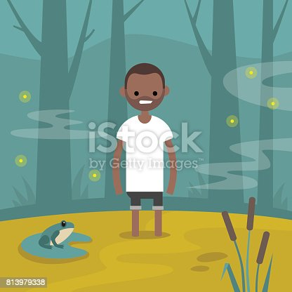 Young black character stuck in the swamp / flat editable vector illustration, clip art