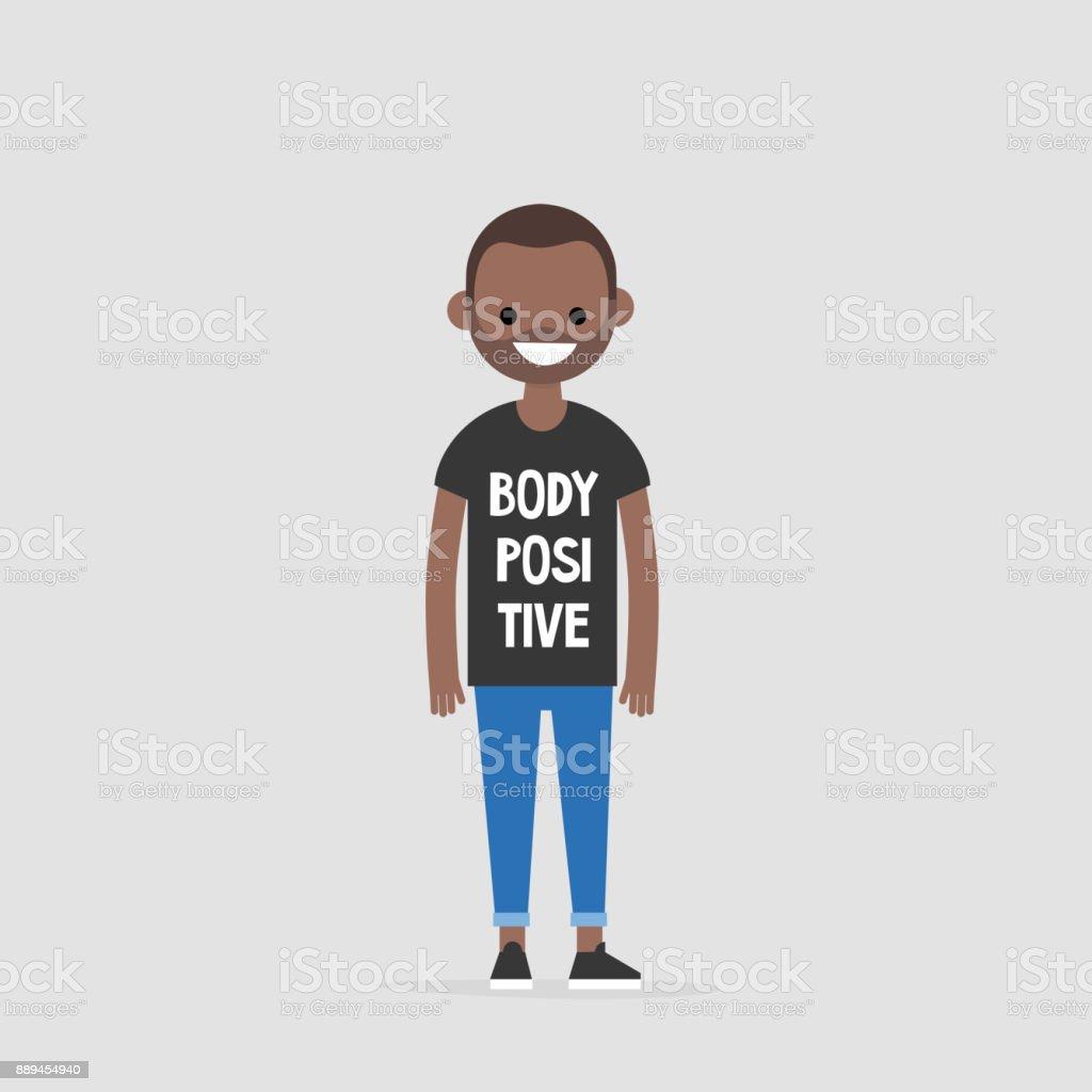 Junge Schwarze Figur Trägt Ein Tshirt Mit Einem Schild Körper ...