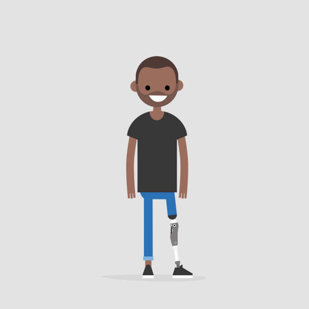 Young black character with prosthetic lower limb. Modern disabled people. Lifestyle. New technologies. Flat editable vector illustration, clip art vector art illustration