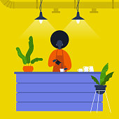 Young black female barista pouring coffee at the bar counter. Cafe. Loft interior. Modern lifestyle. Flat editable vector illustration, clip art
