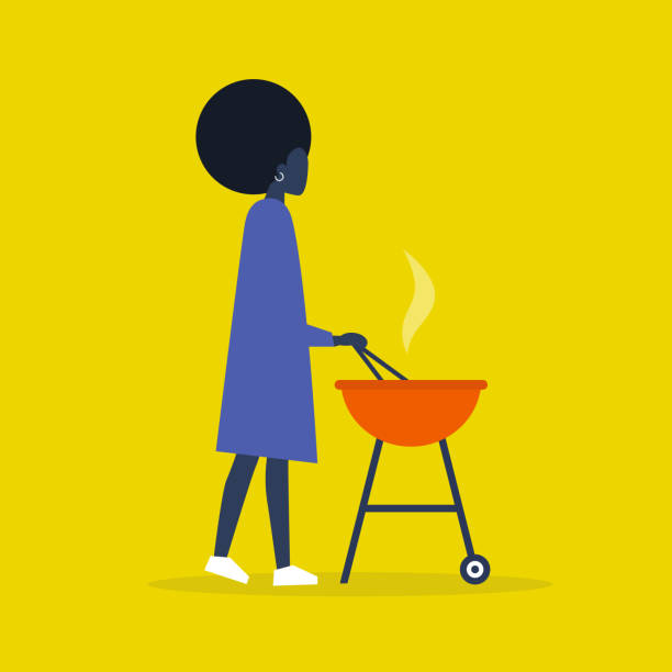 Young black female character cooking dinner on the BBQ. Outdoor leisure. Barbecue. Flat editable vector illustration, clip art vector art illustration