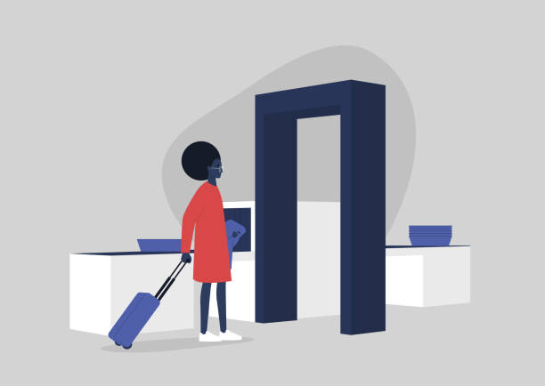 Young black female character passing a security control at the airport, travel concept, millennial lifestyle Young black female character passing a security control at the airport, travel concept, millennial lifestyle airport borders stock illustrations
