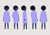 Young black female character poses collection: front, side and back views