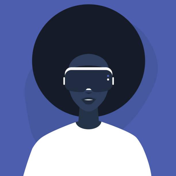 illustrazioni stock, clip art, cartoni animati e icone di tendenza di young black female character wearing a virtual reality headset, millennial gadgets and lifestyle - ritratto 360 gradi