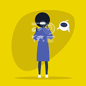 Young black female character wearing a virtual reality headset. VR. AR. New technologies. Cute robot. Machine learning. Millennial gadgets and lifestyle / flat editable vector illustration