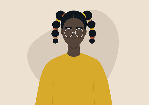 A young black female character wearing two braids, a teenage hairstyle