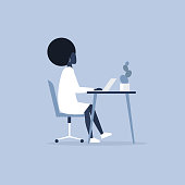 Young black female character working in the office. Furniture. Cabinet. Workspace. Millennials at work. Flat editable vector illustration, clip art