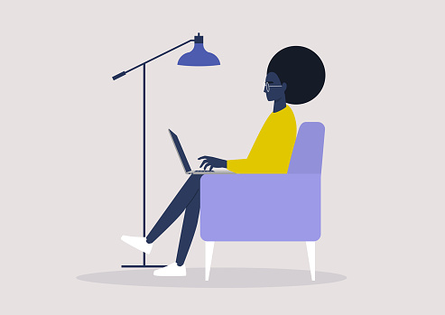 Young black female character working on a laptop from home, social distancing, remote office