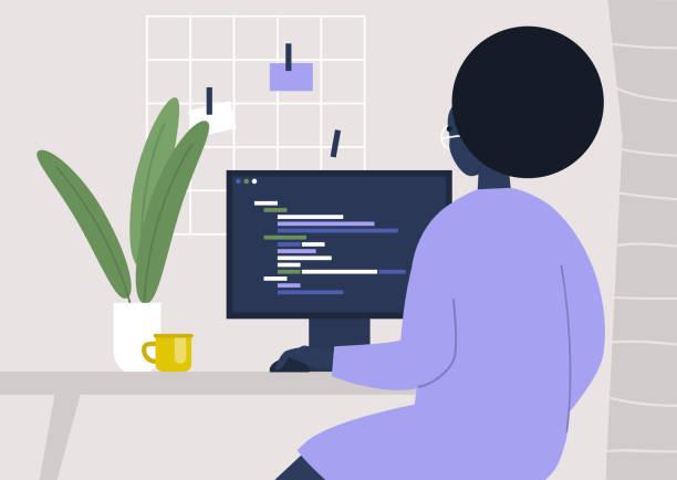 Jong zwart vrouwelijk karakter dat code schrijft op een desktopcomputer, die van huis werkt, millennials op het werkvectorkunst illustratie