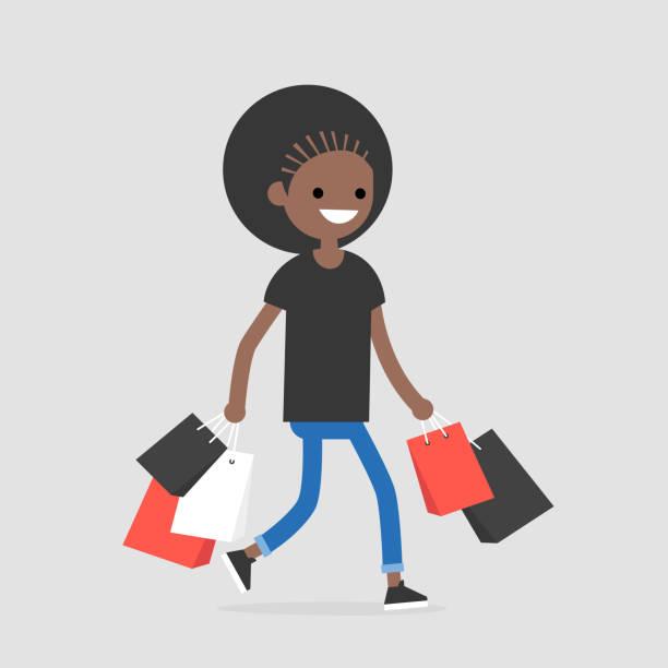若いトレンディな女性キャラクターの黒ウォーキング ・ ウィズ ・ ショッピング バッグ/フラット編集可能なベクトル イラスト - 楽しい 洗濯点のイラスト素材/クリップアート素材/マンガ素材/アイコン素材