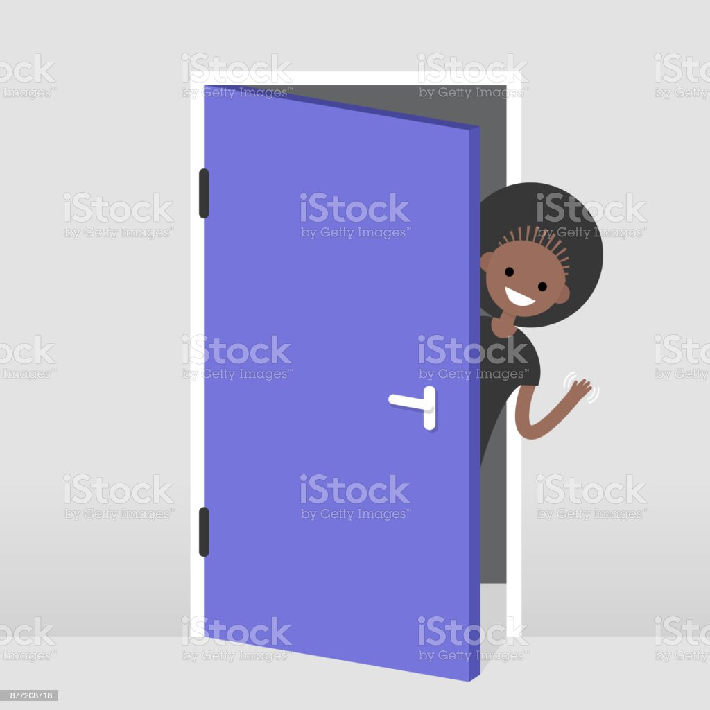 Young black girl peeking out from behind the door. Hello or Goodbye hand waving. Welcome home. Flat editable vector illustration, clip art vector art illustration