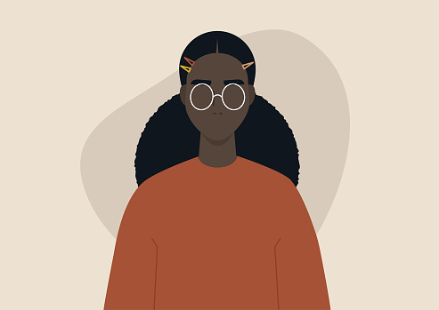 A young black girl wearing hairpins, trendy hairstyle, character design