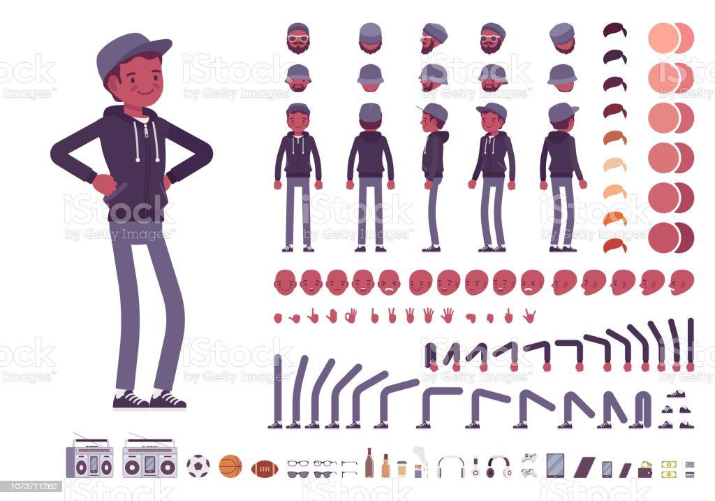 Joven negro hombre juego de creación de caracteres ilustración de joven negro hombre juego de creación de caracteres y más vectores libres de derechos de adulto libre de derechos