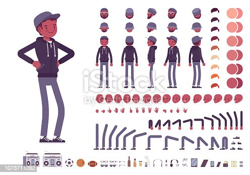 Young black man character creation set. Millennial boy in dark hoodie and cap. Full length, different views, emotions, gestures. Build your own design. Cartoon flat style infographic illustration