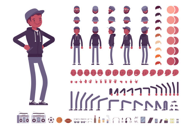Young black man character creation set Young black man character creation set. Millennial boy in dark hoodie and cap. Full length, different views, emotions, gestures. Build your own design. Cartoon flat style infographic illustration group of objects stock illustrations