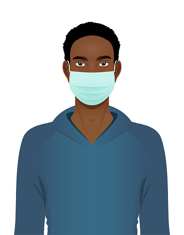 Young black man in a surgical mask portrait