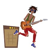 A young black man playing the guitar. Rock musician. Vector illustration, isolated on white.