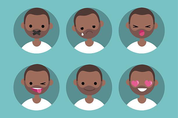 stockillustraties, clipart, cartoons en iconen met young black man profile pics - kaal geschoren hoofd