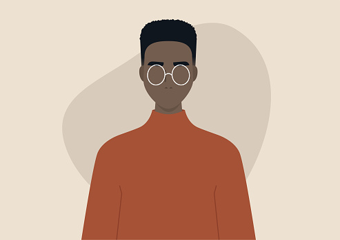 Young black man wearing a box fade hairstyle, character design