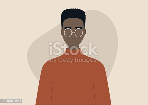 istock Young black man wearing a box fade hairstyle, character design 1250579594