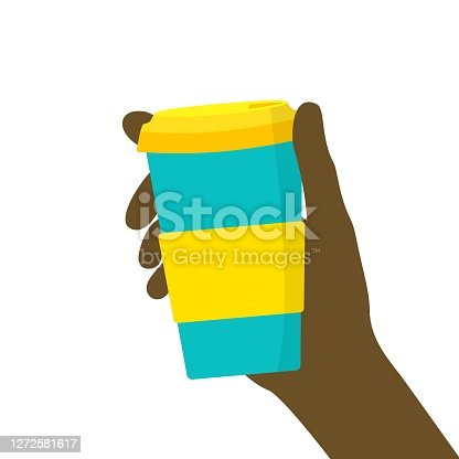 istock Young Black man woman hand holding reusable travel coffee cup mug of turquoise color with yellow lid non slip sleeve 1272581617