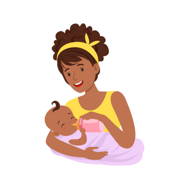 young black mother breastfeeding her baby with breast milk, colorful vector illustration - single mother stock illustrations