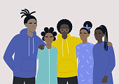 istock Young black teenagers hugging each other, African American community, protest 1248373674