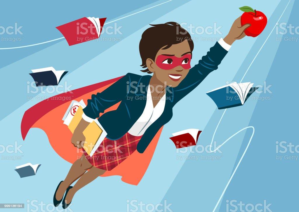 Jeune noire femme en Cap et masque voler dans les airs dans la pose de super-héros, à la recherche de confiant et heureux, tenant une pomme et un dossier avec des papiers, ouvre des livres autour. Enseignant, étudiant, éducation, concept d'apprentiss - clipart vectoriel de Adulte libre de droits