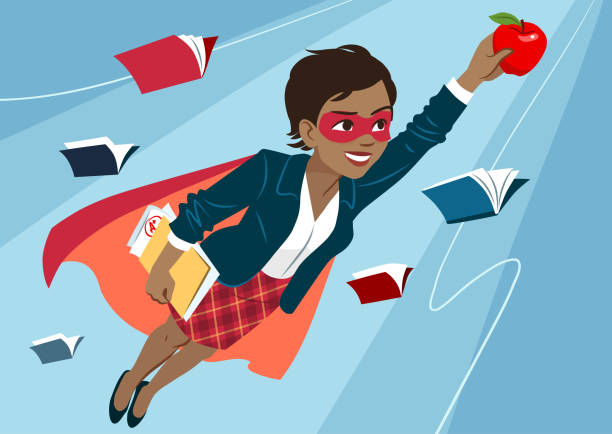 Young black woman in cape and mask flying through air in superhero pose, looking confident and happy, holding an apple and folder with papers, open books around. Teacher, student, education learning concept vector art illustration