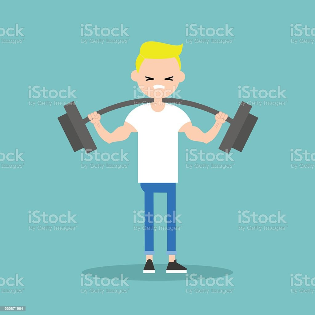 Young blond boy lifting a heavy weight barbell vector art illustration
