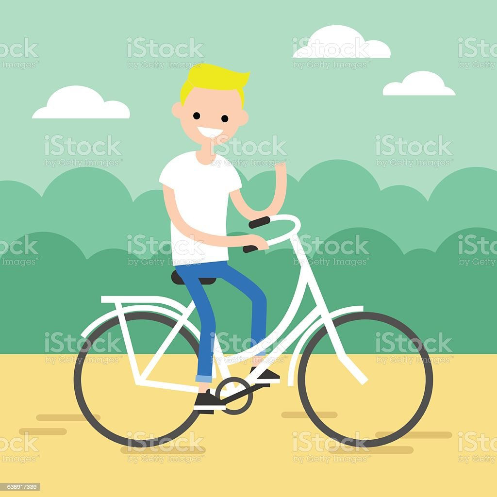 Young blond boy riding a bike and waving his hand vector art illustration