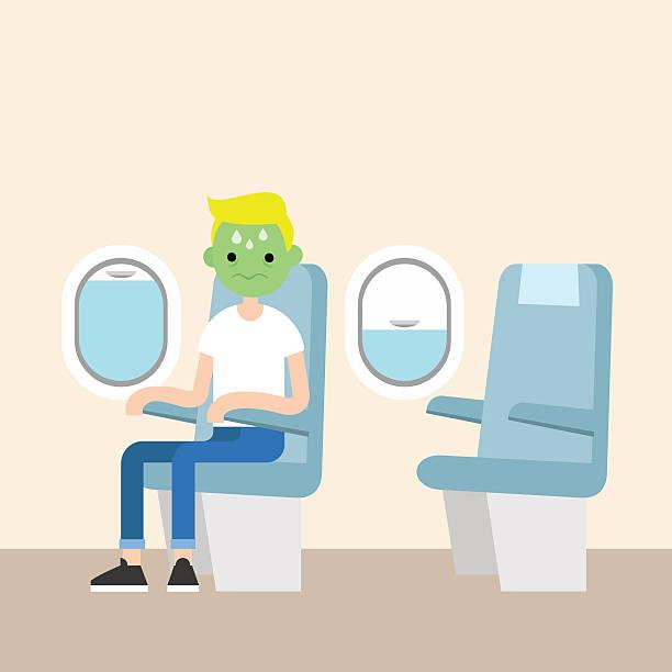 illustrazioni stock, clip art, cartoni animati e icone di tendenza di young blond boy with green face frightened by flight - sedili aereo