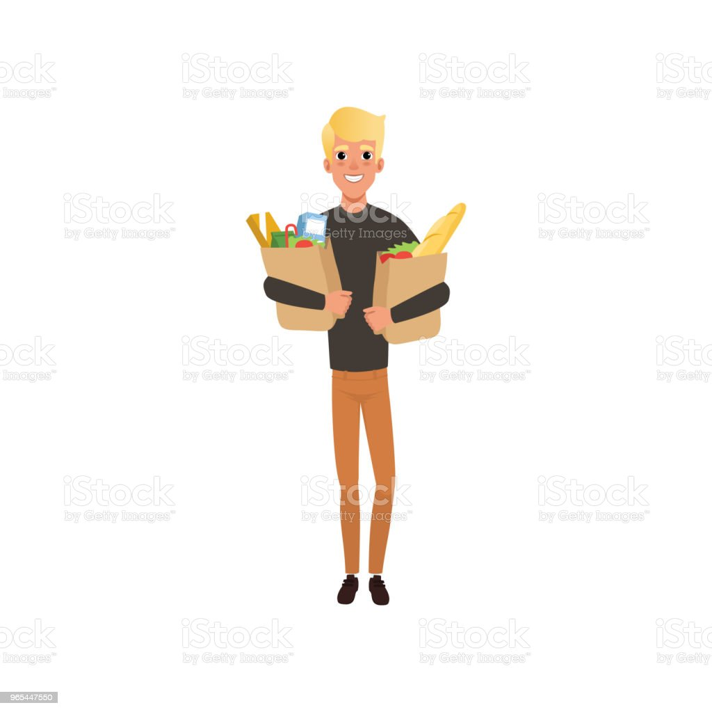 Young blond guy holding two paper bags with products. Shopping at grocery store or supermarket. Flat vector design young blond guy holding two paper bags with products shopping at grocery store or supermarket flat vector design - stockowe grafiki wektorowe i więcej obrazów artykuły spożywcze royalty-free