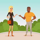 Young blond woman and bearded afro-american man standing in park and having conversation. Cartoon people characters talking outdoors. Blue sky and green bushes on background. Flat vector illustration.